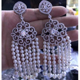 Handmade Bohomian White Pearl Tassel Earrings
