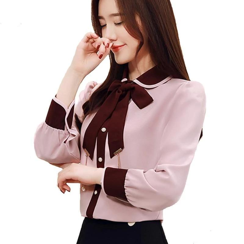 Blouse Long-Sleeved Bow Tie Chiffon Office  Lady Top Pink
