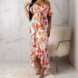 Off Shoulder Two-Piece Print Long Bodycon Dress