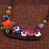 Flowers Ethnic Stones Choker Necklace