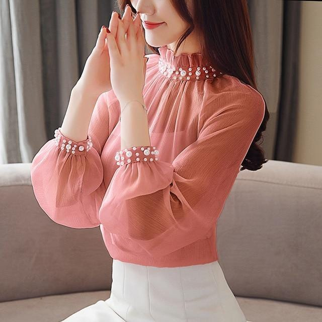 Long Sleeve Beaded Neck Top Bean Red