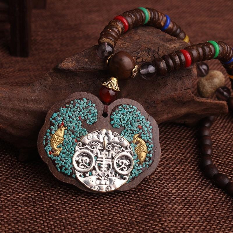 Vintage Wood Metal Elephants Ethnic Pendants Necklace