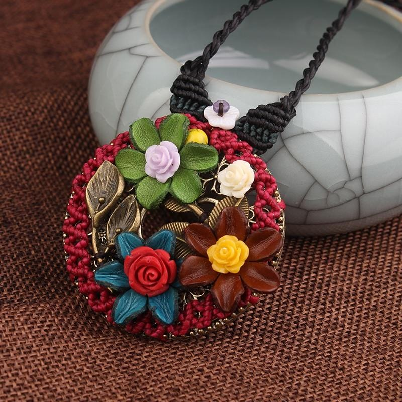 Handmade Flowers Braided Ethnic Vintage Necklace