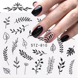 Linear Flower Pattern Transfer Nail Sticker