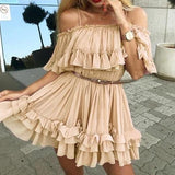 Off Shoulders Ruffle Pleated Mini Dress Nude