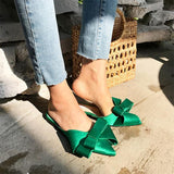 Silk Baotou Flat Heel Pointed Bow slippers Green