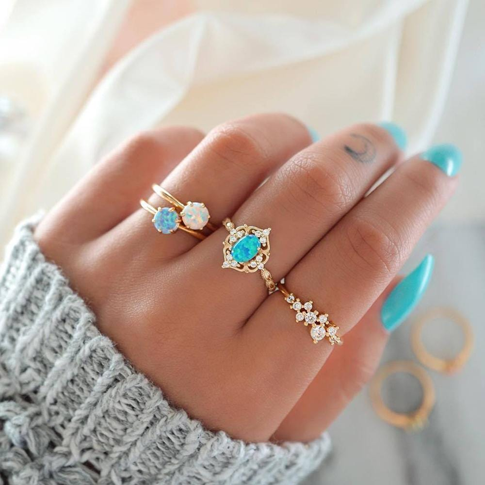 Crystal Leaves Simple Gems Ring Set