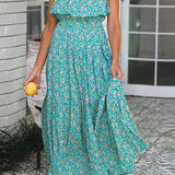 Spaghetti Strap Vintage Casual Ruffle High Waist Dress Green