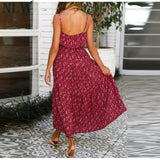 Spaghetti Strap Vintage Casual Ruffle High Waist Dress
