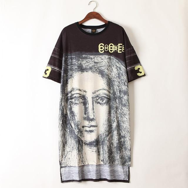 Graffiti Printed Hip Hop Dance Streetwear Dress