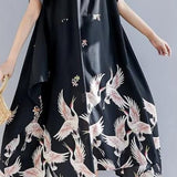 Elegant Printing Irregular Hem Black Casual Style Dress