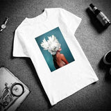 Casual Flowers Feather Print T-Shirt