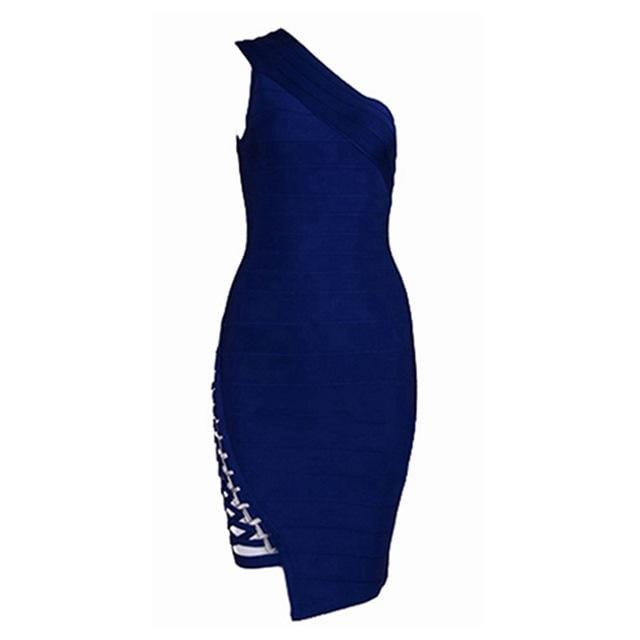One-Shoulder Sleeveless Sequined Sexy Party Dress Royal Blue
