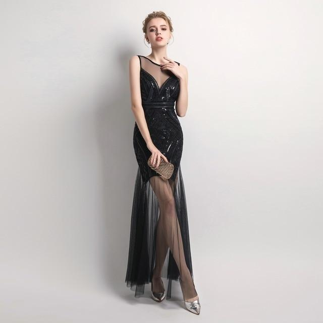 Gold Sequin Beaded Long Evening Dress Black