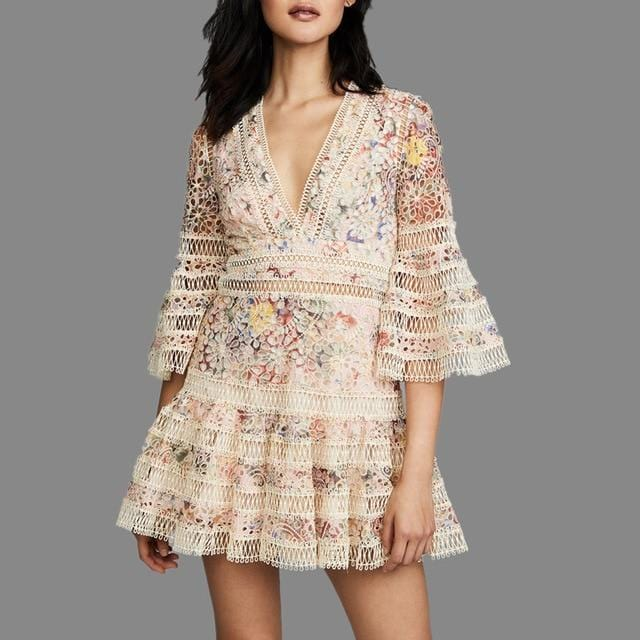 Bohemian Floral Embroidery Hollow Out V- Neck Lace Dress