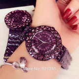 Rhinestone Purple Luxury Steel Full Crystal  Wristwatch