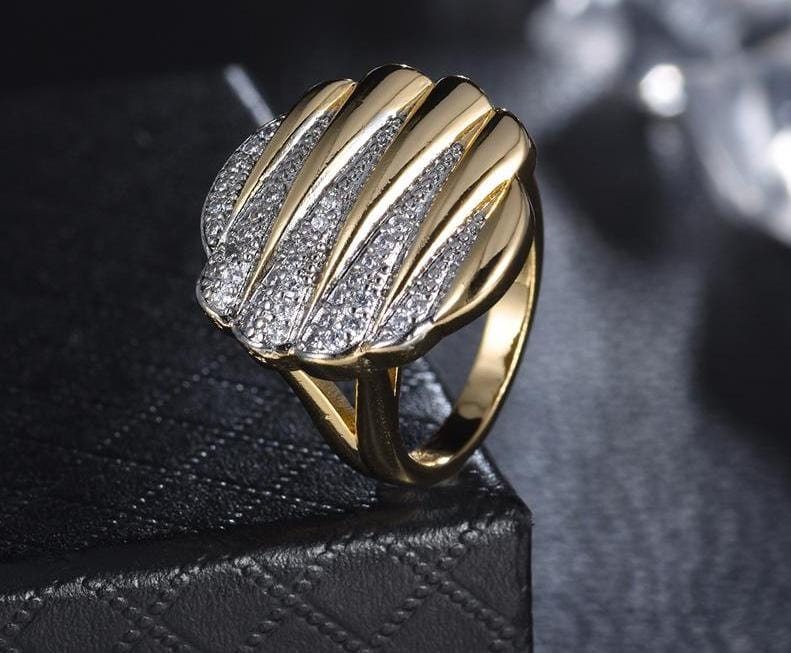 Gold Crystal Cocktail Ring Gold