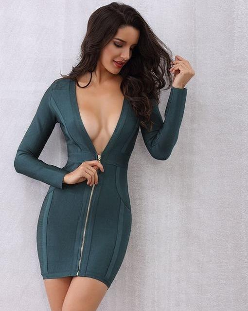 Long Front Zipper Short Bandage Dress Dark Green