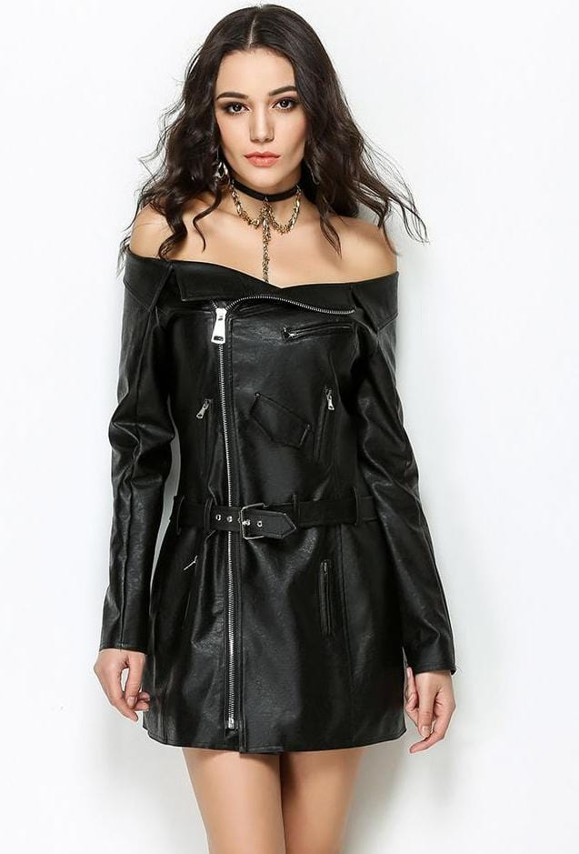 Chic Black Leather Dress