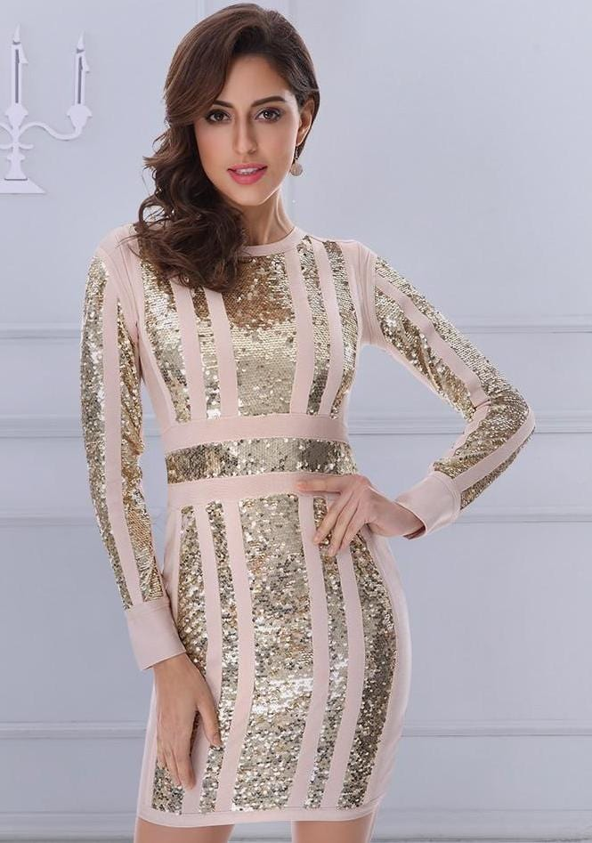 Unique Short Long Sleeves Sequined Dress Khaki