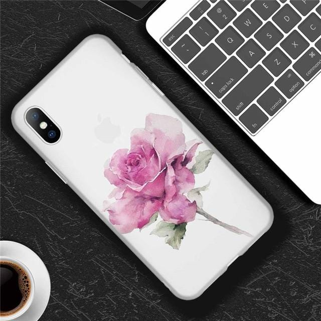 Flower Matte Soft Silicone iPhone Case