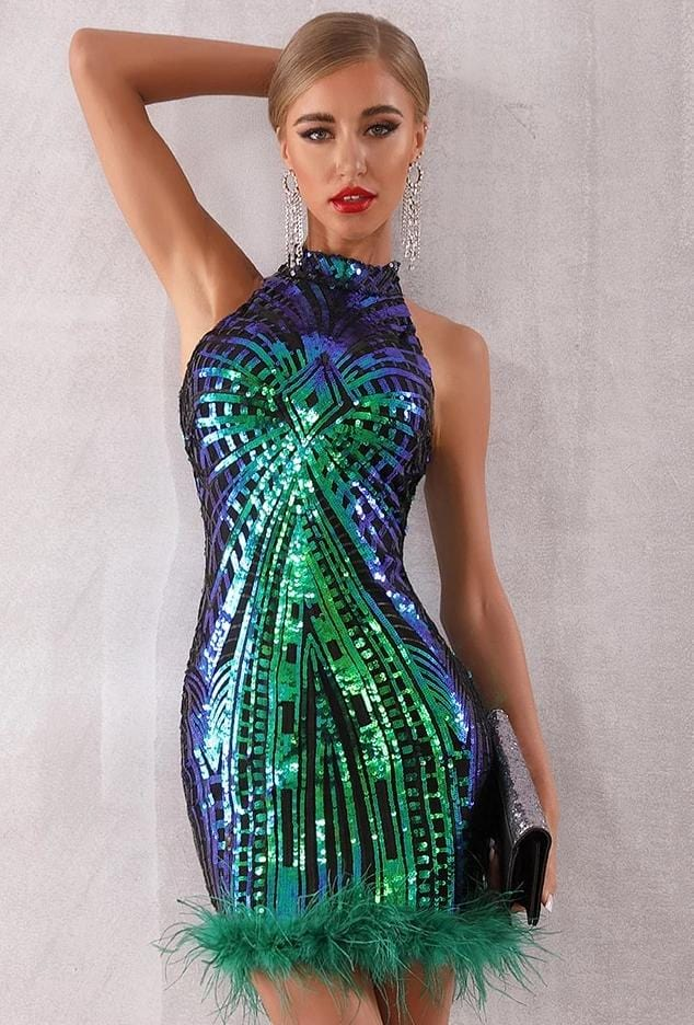 Runway Feather Sequin Elegant Dress Green