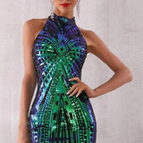 Runway Feather Sequin Elegant Dress