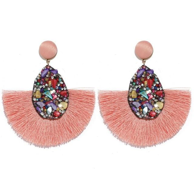 Colorful Crystal Tassel Fringe Earrings