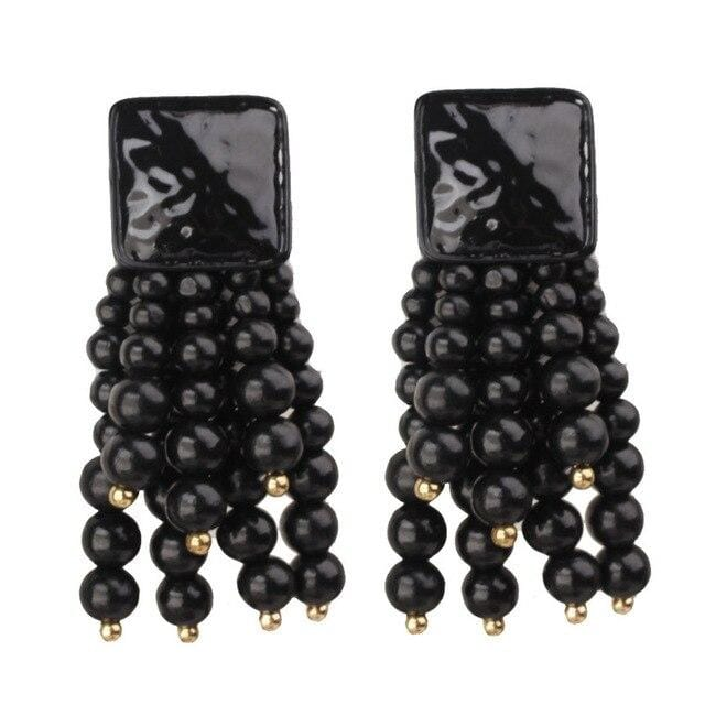Wood Bead Statement Tassels Drop Earrings