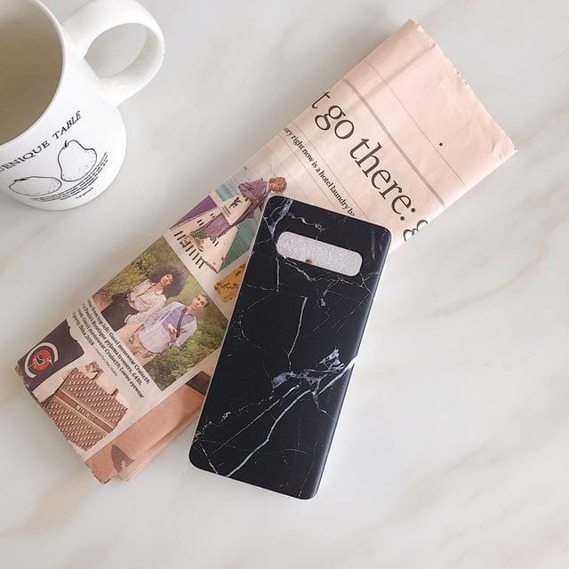 Fashion Marble Silicone Case Cover For Samsung Galaxy S7 edge S8+ S9 Plus Note 8 Note 9 S10e Lite Plus With Holder Grip Stand