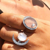 Bohemian Crystal Moon Oval Ring Set