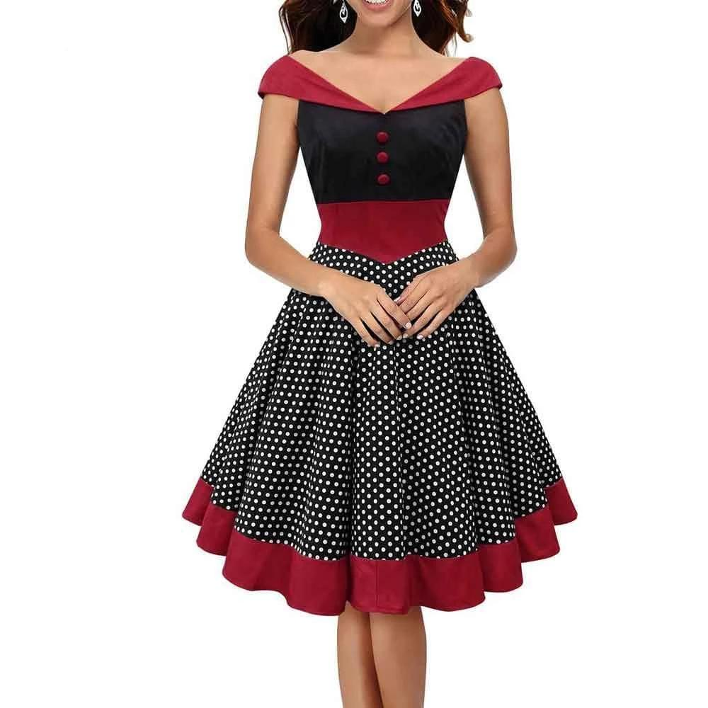 Rockabilly  Gown Dot Ball Party Vintage Dress Red