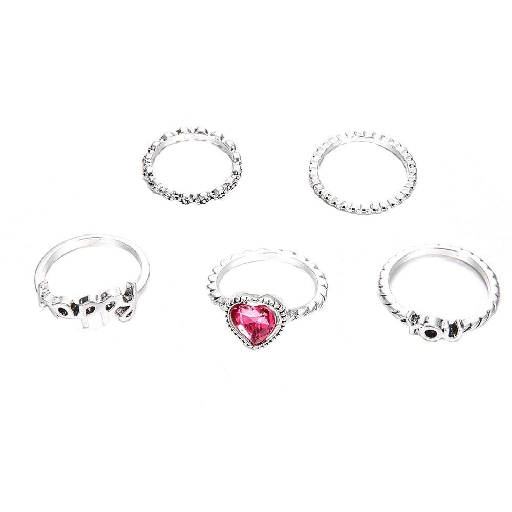 Bohemian Vintage Punk 5 Finger Ring Set