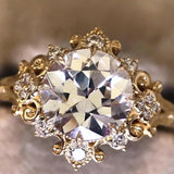 Gold Stone Flower Cut Ring