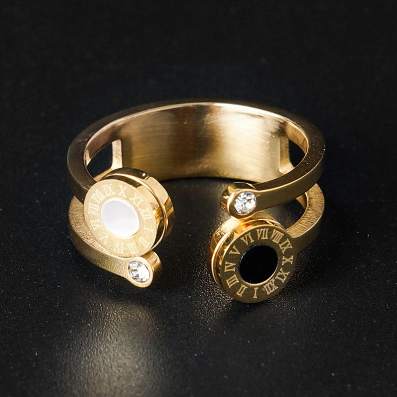 Hollow Out Open Cuff Round Roman Number Crystal Rings