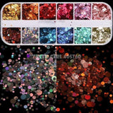 Hexagon Sequins Nail Glitter Marble Powder