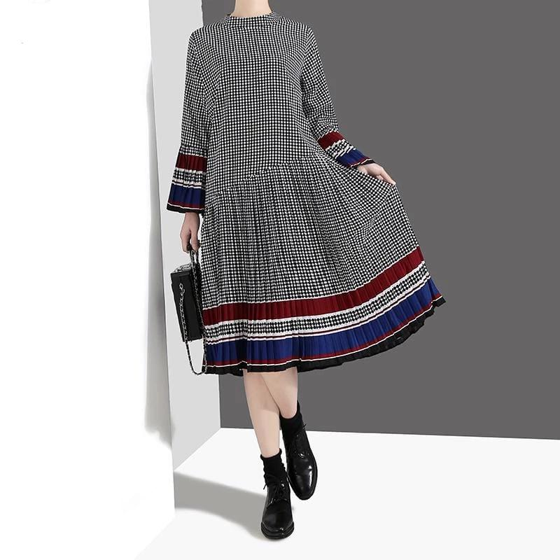 Flare Sleeve Black Plaid Casual Cute Wear Party Dress