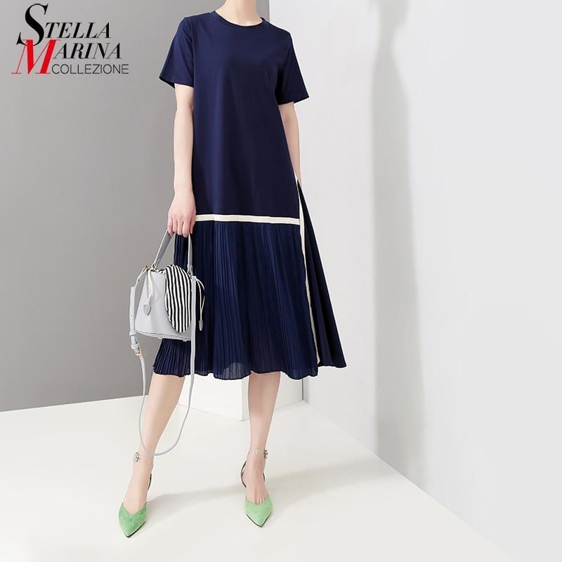 Casual Solid Blue Pleated Short Sleeve Midi Dress