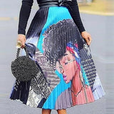 Fashion Graphic Printed Stain Lining  Mid-Calf Skirt