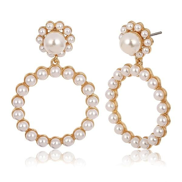 Round Pearl Gold Silver Trendy Earrings