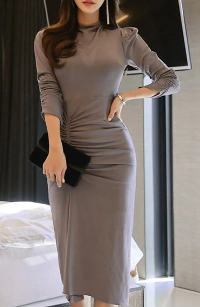 Chic Side Pleated Elegant Office Dress