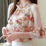 Casual Chiffon Printed Patchwork Blouse Top Pink Flower