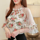 Casual Chiffon Printed  Patchwork Blouse Top White Flower