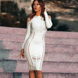 Off Shoulder O-Neck Long Sleeve Bodycon Dress
