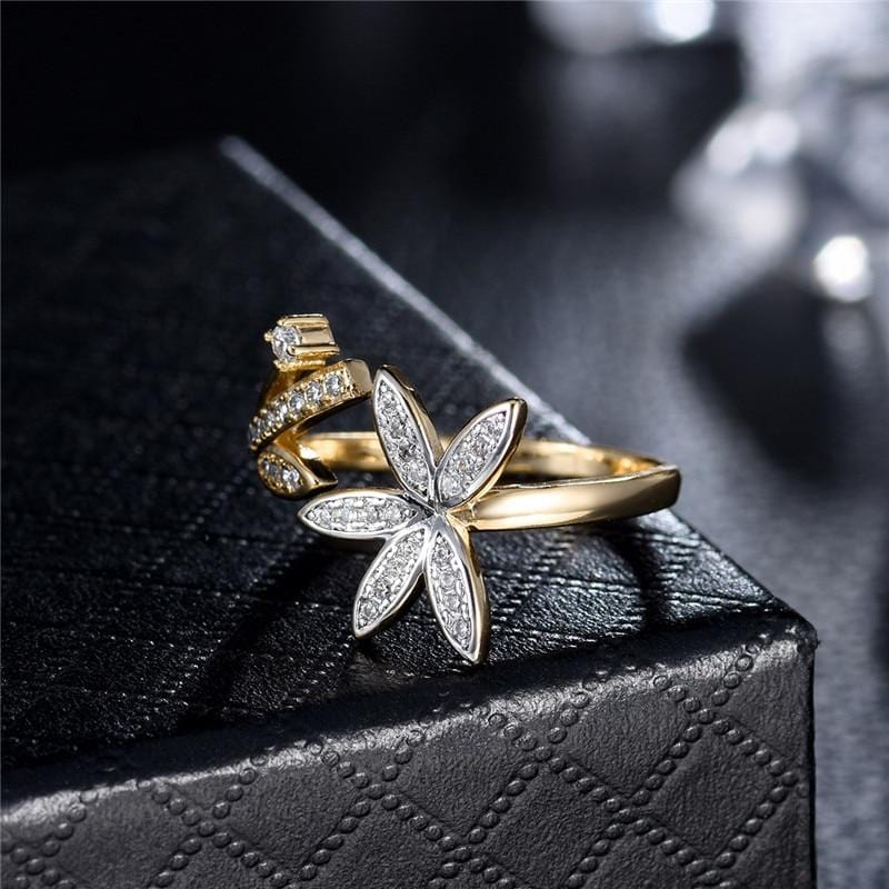 Vintage Leaf And Flower Finger Ring