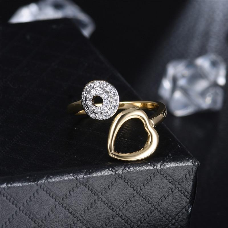 Silver Heart Shape Gold Color Ring
