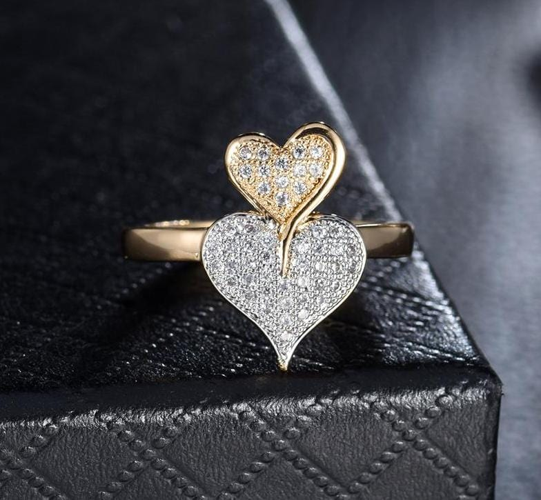 Double Hearts Design Gold Color Ring Silver & Gold