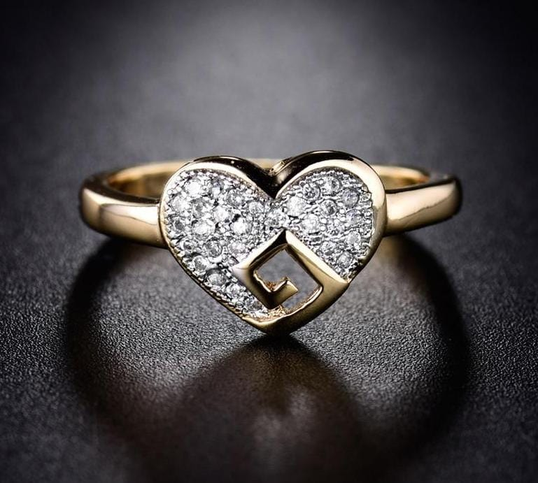 Crystal Heart Gold Color Pave Ring