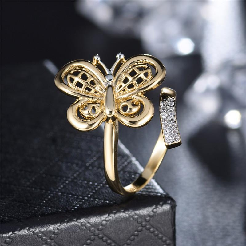 Classic Butterfly Shape Crystal Earrings Gold