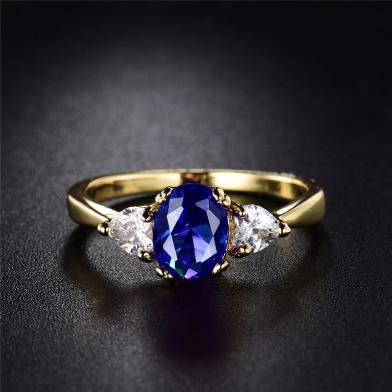 Crystal Oval Cut Blue Ring